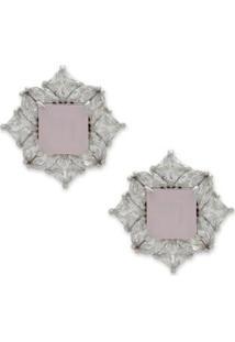 Brinco Pequeno Com Zircônias - Feminino-Rosa+Prata