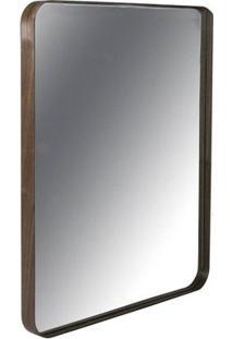 Espelho Retangular Pereque Com Moldura Lamina Nogueira 80 Cm (Alt) - 43503 - Sun House