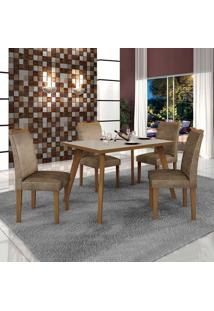 Conjunto De Mesa De Jantar Lavinia Com 4 Cadeiras Pampulha Ii Veludo Imbuia Mel Off White