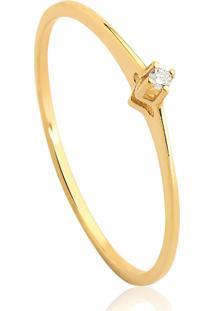 Anel Solitário Em Ouro Amarelo 18K Com Diamante 1,5 Pontos