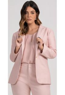 Blazer Feminino Plus Size Rosê Botão Único Renate