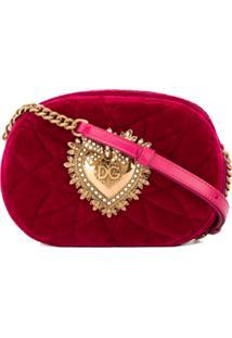 Dolce & Gabbana Quilted Velvet Shoulder Bag - Rosa