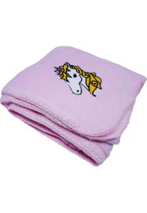 Cobertor Infantil Bordado- Rosa & Branco- 90X110Cmniazitex