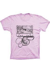 Camiseta Lu Geek Manga Curta Fita K7 Rosa
