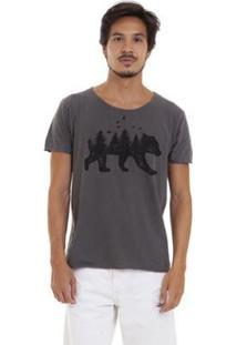 Camiseta Estonada Corte À Fio Joss Florest Bear Masculina - Masculino-Chumbo