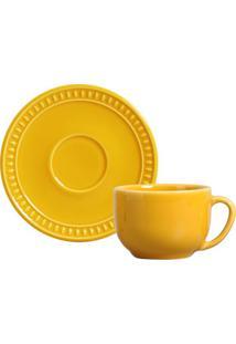 Xícara Chá Sevilha Mostarda Ceramica 198 Ml Conjunto 6 Peças