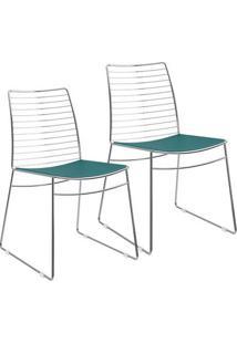 Cadeira 1712 Cromada 02 Unidades Turquesa Carraro