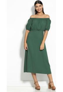 Vestido Midi Ombro A Ombro Verde