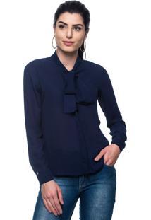 Camisa Intens Manga Longa Crepe Laço Azul
