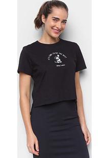 Camiseta Colcci Cropped Disney Mickey Feminina - Feminino