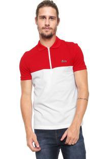 ... Camisa Polo Lacoste Slim Color Block Branca Vermelha 711370bdb00c7