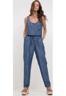 72698d77af ... Macacão Jeans Longo Com Amarração