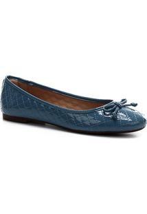Sapatilha Shoestock Verniz Matelassê Bico Redondo Feminina - Feminino-Azul Claro