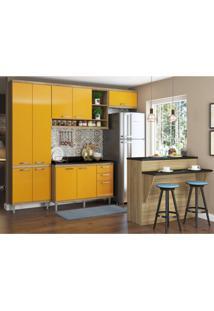 Cozinha Completa Com Bancada E Balcão Com Tampo 6 Peças 8 Prateleiras Sicília Multimóveis Argila/Amarelo