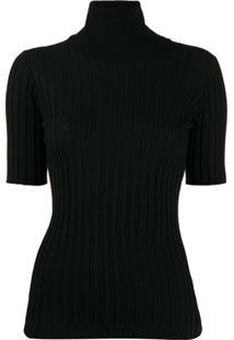 Bottega Veneta Roll-Neck Short Sleeve Sweater - Preto