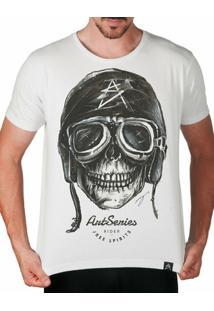 Camiseta Caveira Artseries Motoqueiro Rider Masculina - Masculino-Branco