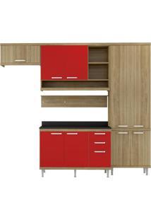 Cozinha Compacta Sicília Argila Vermelho Se Multimóveis