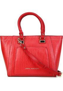 Bolsa Couro Jorge Bischoff Shopper Croco Red Feminina - Feminino-Vermelho