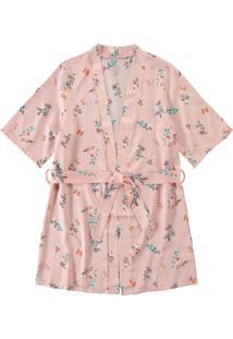 Robe Rosa Floral Em Cetim