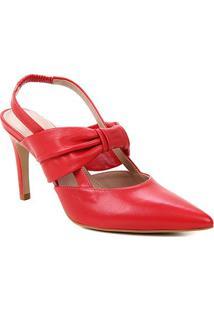 Scarpin Couro Shoestock Salto Alto Soft - Feminino-Vermelho