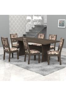 Conjunto Sala De Jantar Mesa Tampo Em Mdf E 6 Cadeiras Paris Móveis Meneghetti Wengue/Wengue/A80
