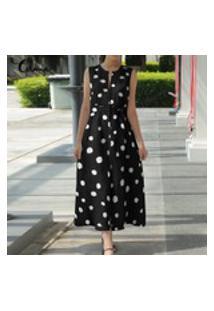 Vestido De Verão Five Star Store Celmia Women Summer Plus Size Sem Mangas Amarre Cintura Vestido Bohemian Bolinhas