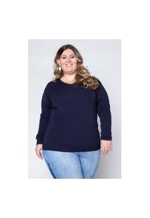 Blusa Almaria Plus Size Garage Tricot Viscose Azul Marinho