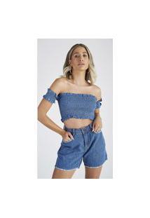Blusa Cropped Jeans Express Karolyne Azul