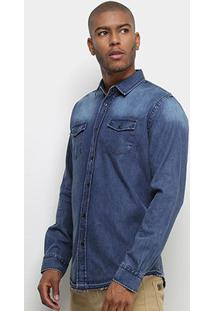 Camisa Colcci Jeans Classic Masculina - Masculino-Azul