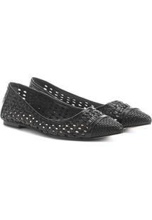 Sapatilha Shoestock Bico Fino Tressê Feminina - Feminino-Preto