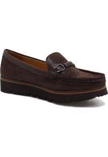 Sapato Mocassim Zariff Shoes Flatform Marrom