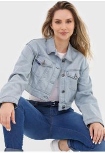 Jaqueta Cropped Jeans Forum Pespontos Azul
