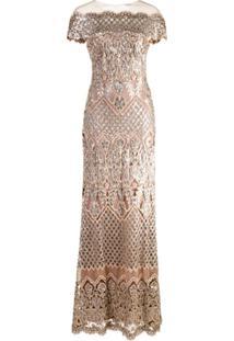 Tadashi Shoji Sequin Embellished Gown - Metálico