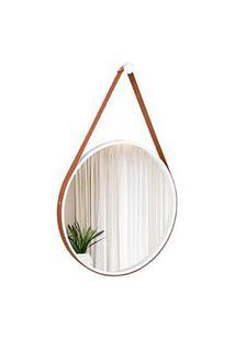 Espelho Decorativo Adnet Branco Com Alça Em Corino Caramelo 50Cm Redondo - E2G Design