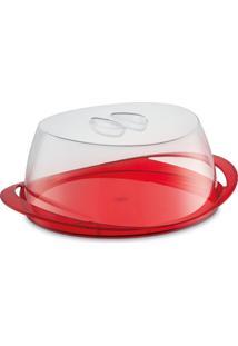 Porta Bolo Vermelho Translúcido Plástico Uz Utilidades
