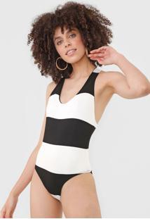Body Dress To Nadador Off-White/Preto - Off White - Feminino - Viscose - Dafiti