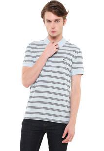 Camisa Polo Lacoste Reta Listras Azul