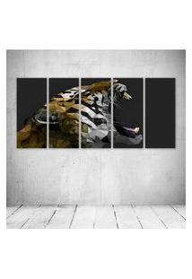 Quadro Decorativo - Tiger Digital Art - Composto De 5 Quadros