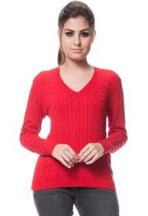 Blusa Logan Tricot Feminina Básica De Trança Feminina - Feminino-Vermelho