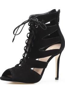 Sandália Feminina Ankle Boot Lace Up Recortes Couro Nobuck Corello Sandália Preto