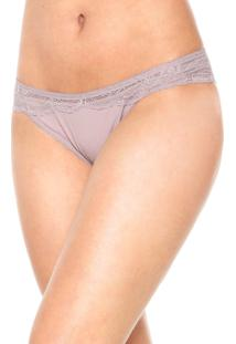 Calcinha Calvin Klein Underwear Tanga Renda Roxa