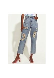 Calça Jeans Feminina Triya Mom Cintura Super Alta Destroyed Com Bordado De Arco-Íris Azul Médio