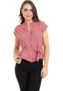 Camisa Kinara Xadrez Sem Manga Com Faixa Feminina - Feminino-Vermelho