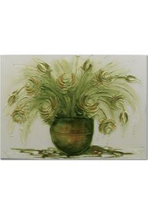 Quadro Artesanal Com Textura Rosas Verde 70X100 Uniart