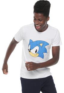 Camiseta Tectoy Sonic Hedgehog Classic Front Face Branca