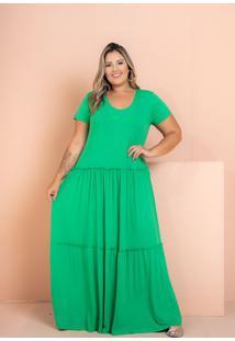 Vestido Longo Três Marias Verde Plus Size