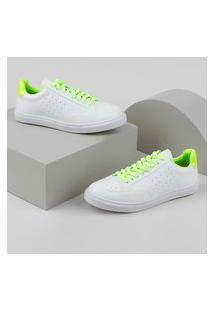 Tênis Feminino Oneself Com Recorte Neon Branco