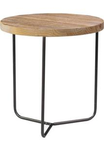 Mesa Lateral Flash Baixa Cor Driftwood Com Base Grafite 54 Cm (Alt) - 51175 - Sun House