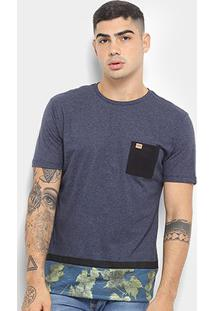 Camiseta Hd Autumn Leaves Masculina - Masculino-Azul Escuro
