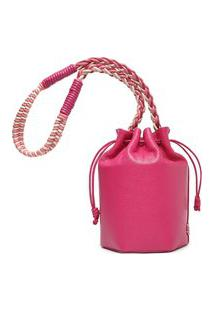 Bolsa Bucket Rosa Couro Pequena | Arezzo